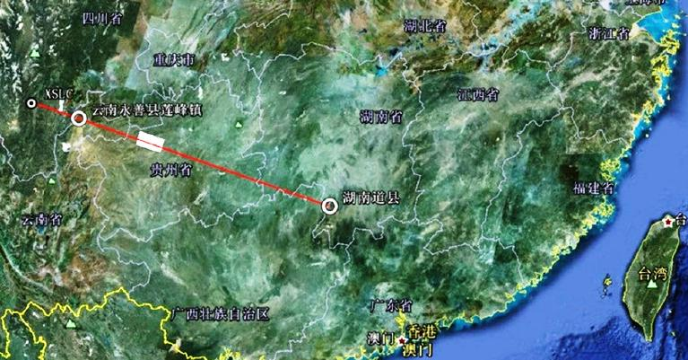 Figure 1: The Xichang launch site (labeled XSLC) is in the upper left. The white rectangle is the NOTAM announced by China. The two white circles are areas where Chinese news sources reported that residents were given warning of reentering debris.