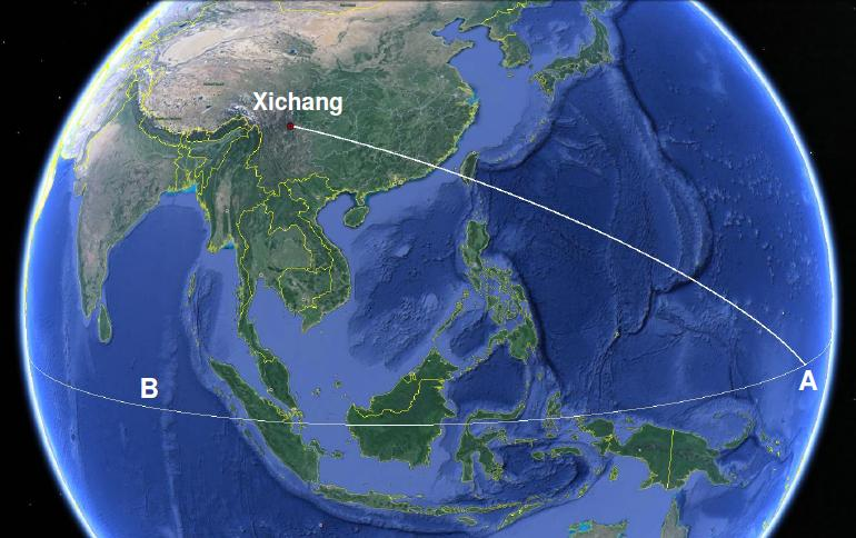 Figure 2: The ground track (on a non-rotating Earth) of the rocket from launch at Xichang to a reentry at point A on the equator. For the rocket to reenter over the equator in the Indian Ocean, the flight time would have to be long enough for the Earths rotation to move the point B to the point A. (Source: Google Maps)