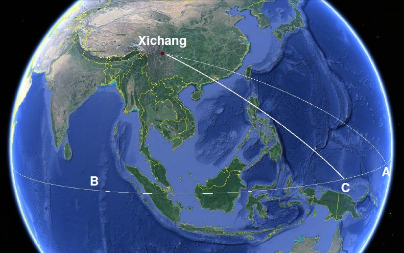 Figure 3: The ground track (on a non-rotating Earth) of the rocket from launch at Xichang to a reentry at point C on the equator. Maneuvering of the upper stage(s) has shifted the trajectory further south than the original trajectory. For the rocket to reenter over the equator in the Indian Ocean, the flight time would have to be long enough for the Earths rotation to move the point B to the point C, which is shorter than the time required to move B to A. (Source: Google Maps)