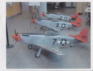 Three models of the P-51 Mustangs flown by the Tuskegee Airmen. (Courtesy Photo)