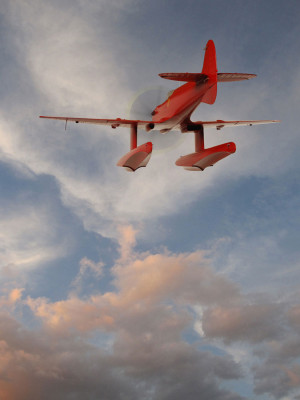 Ludmilla Litvyck in flight-Red/11 is a 2013 archival digital print by Patrick Nagatani. (Courtesy of Andrew Smith Gallery)