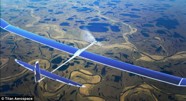 Facebook is tipped to spend $60million on buying Titan Aerospace, which makes drones (pictured) that can fly solo for five years without needing to land, to bring affordable internet access to five billion people who don¿t have it