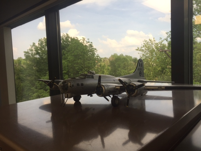 A <a href='http://www.modelairplane.com/link/modelairplane'>model airplane</a> graces a cabinet in veteran John Klette, Jr.'s law office in Ft. Mitchell