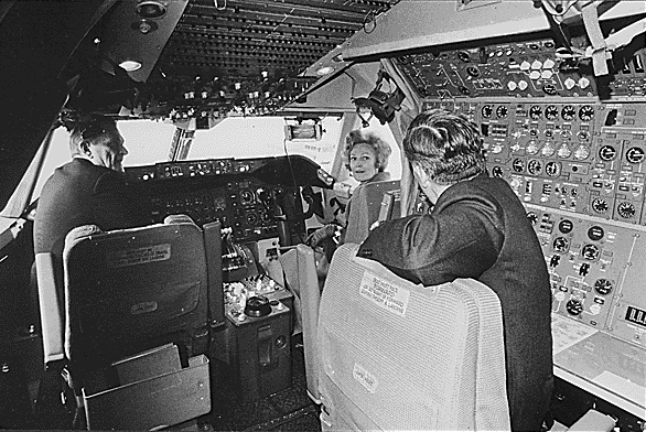 First Lady Pat Nixon at the first Boeing 747 rollout ceremony at Boeing's Everett factory.