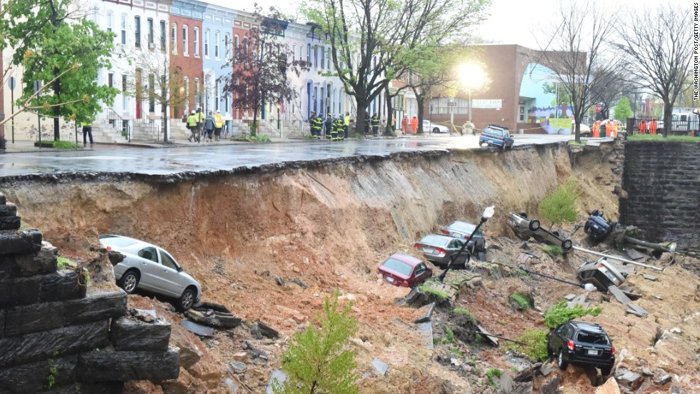 More than 300 experts helped produce the report over several years, updating a previous assessment published in 2009. A Democratic operative who now counsels the President called the report quot;actionable sciencequot; for policymakers and the public to use in forging a way forward. In this image, cars are seen in the aftermath of an embankment collapse in Baltimore as a massive storm system pounded the mid-Atlantic on April 30.