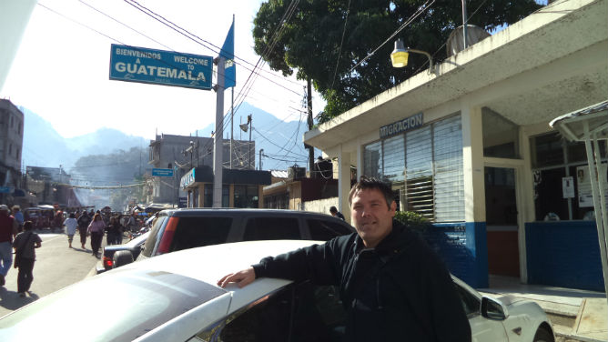 Lewis at the Mexico-Guatamala border.