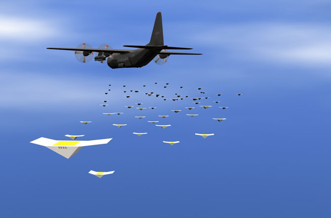 An airplane or balloon could drop hundreds of Cicadas behind enemy lines. Image: NAVAL RESEARCH LABORATORY