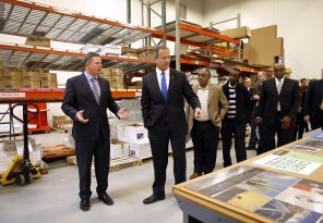 Gov. Martin O'Malley tours Linemark printing plant with Dave Ashton, left, the company's vice president of sales, March 6 in Upper Marlboro.