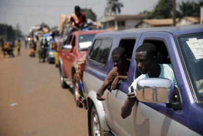 A convoy of over 100 vehicles of Muslims trying to flee Bangui, Central African Republic, were forced to turn around as peacekeepers determined that the