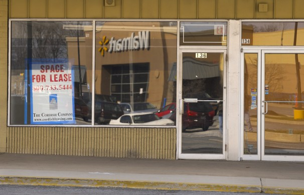 An empty storefront at the Carroll Island shopping center in Middle River, Md.