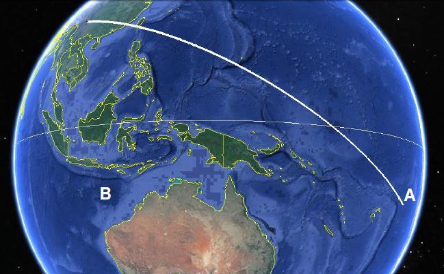 Figure 4: The ground track (on a non-rotating Earth) of the rocket from launch at Xichang to a reentry point A at 15 degrees south latitude. For the rocket to reenter at B or further west, the apogee of the trajectory would have to be at least 23,000 km. (Source: Google Maps)